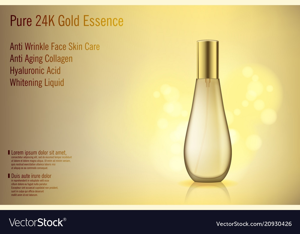 3d realistic gold perfume bottle mockup with vector image