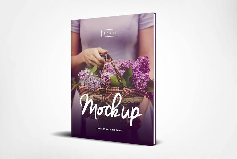 85 x 11 standing hardcover book mockup css author