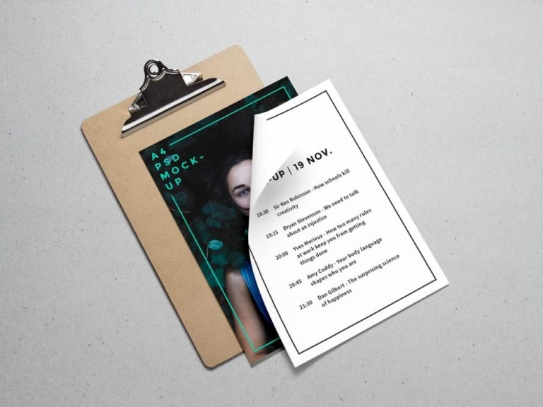 a4 paper and clipboard mockup mockupworld