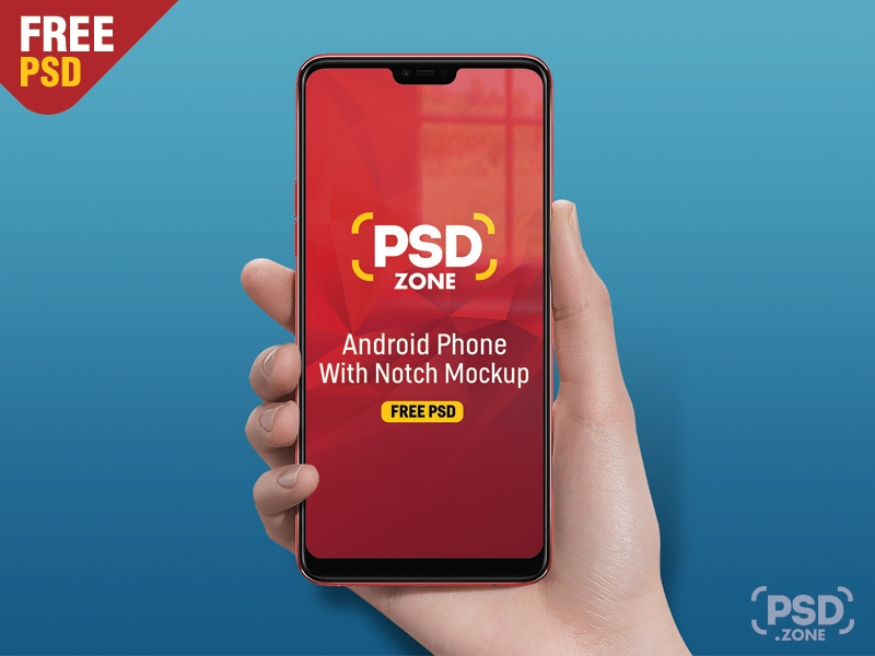android phone with notch mockup psd zone on dribbble