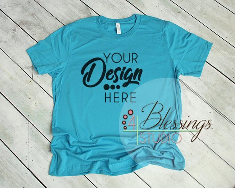 aqua t shirt bella canvas mockup 3001 aqua unisex shirt tshirt etsy