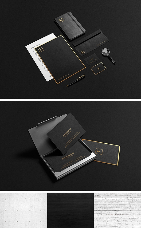 black and gold stationery mockup graphicburger