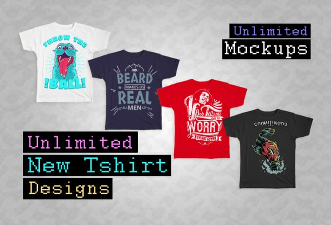 deliver unlimited new tshirt designs and mockups print on demand