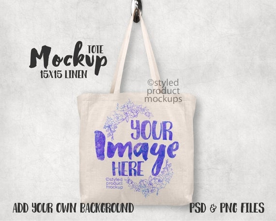 dye sublimation linen tote bag mockup template add your own etsy