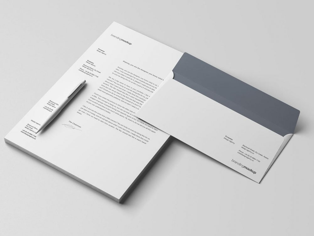 envelope letterhead psd mockup free daily mockup