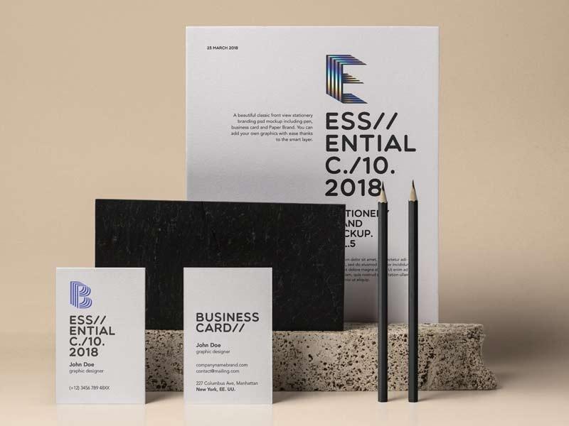 essential stationery free psd mockup designermill