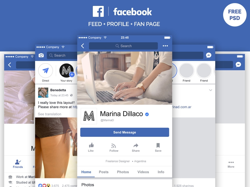 facebook mobile layout free psd marina on dribbble