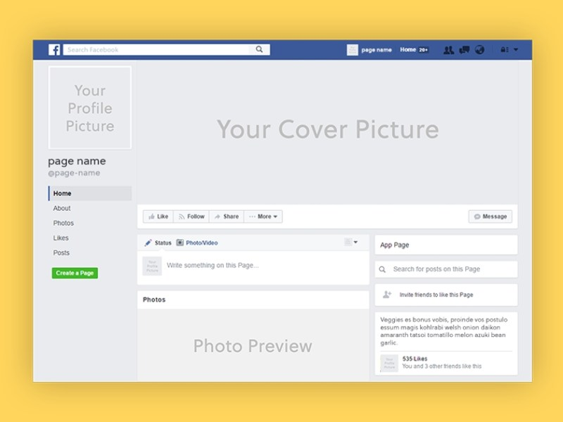 facebook page 2019 mockup psd fluxes freebies