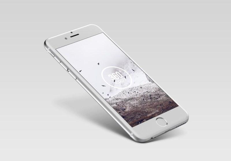floating silver iphone mockup mockupworld