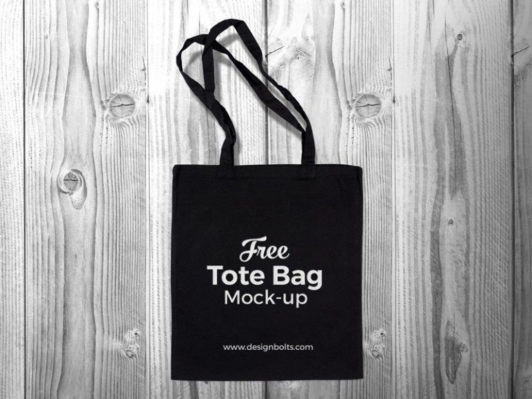 free black cotton tote shopping bag mock up psd zee que