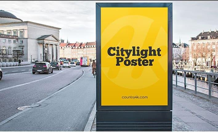 free city light poster mockup psd mockups free