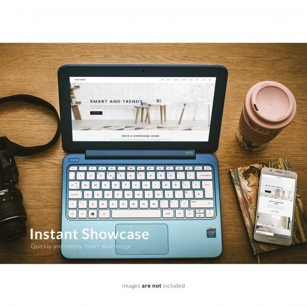 free customizable blue laptop mockup in psd free laptop mockup