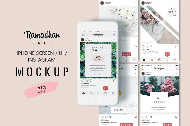 free iphone screen ui instagram mockup on behance