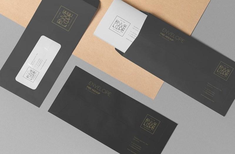 free three envelope mockup mockuptree