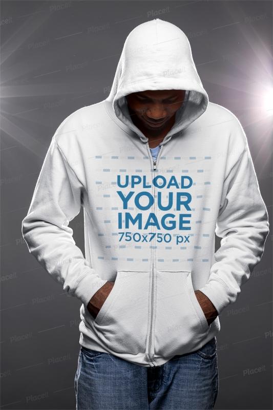 full zip hoodie mockup featuring a man looking down 23394