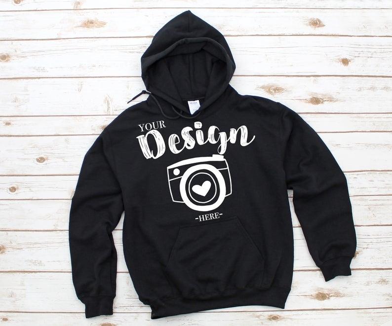 gildan 18500 hooded sweatshirt brand black hoodie mockup t shirt mockup gildan flat lay shirt mock up white wooden background