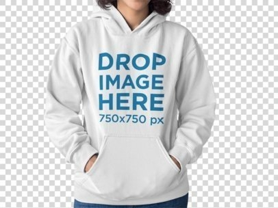 girl wearing a pullover hoodie mockup while standing against a transparent background a15473