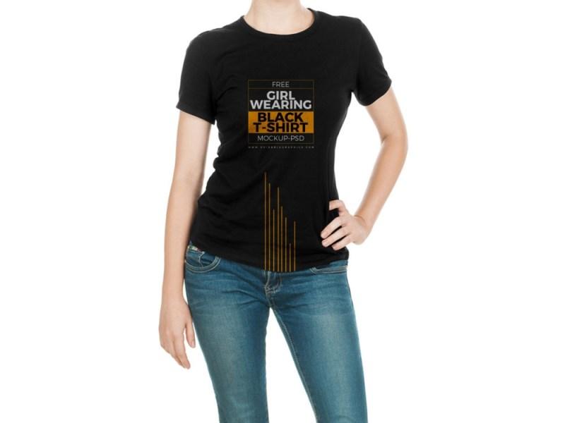 girl wearing black t shirt mock up free mockup
