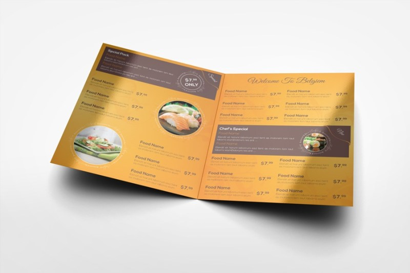 half fold menu mock up 14x85 graphicriver