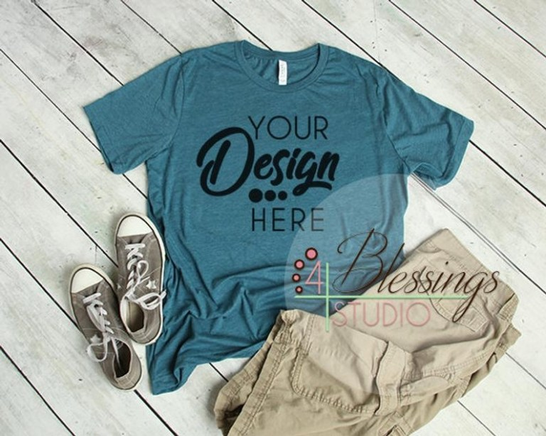 heather deep teal t shirt bella canvas mockup 3001 deep teal etsy
