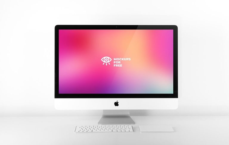 imac in light creative space mockups for free