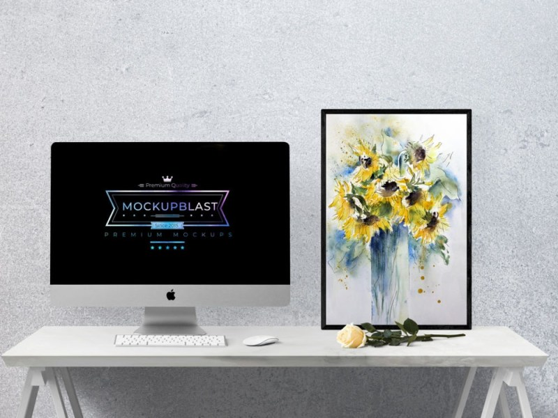 imac with frame on desk mockup to showcase combo design psd