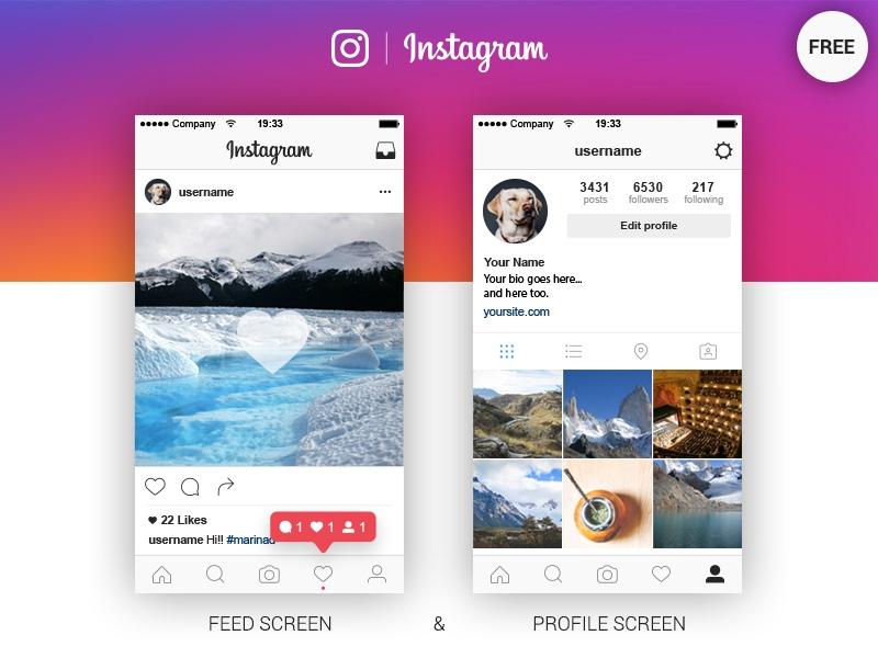 instagram feed profile screen free ai marina on dribbble