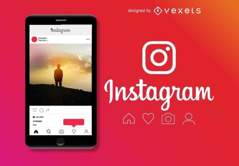 instagram post mockup vector download