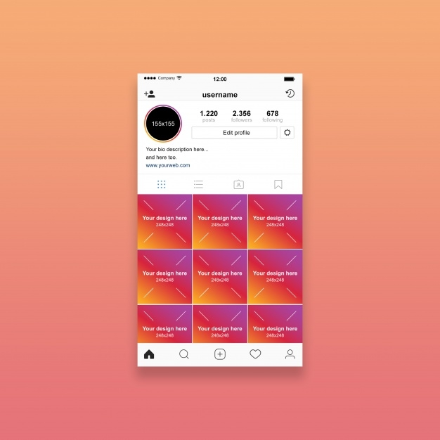 instagram profile mockup psd file premium download