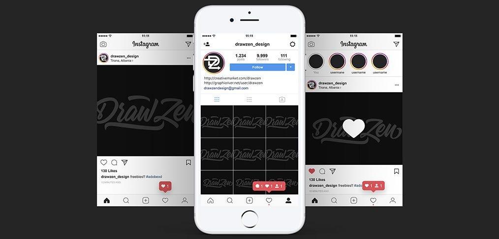 instagram ui mobile screens for xd xdguru