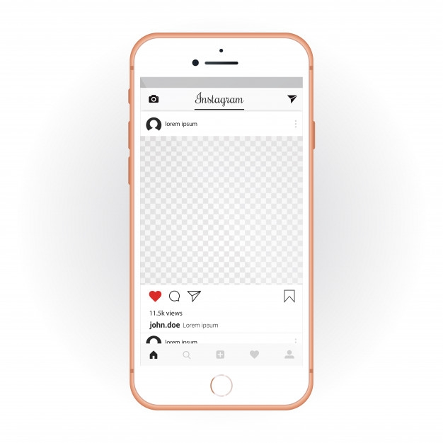 iphone with mobile ui kit instagram smartphone mockup and chat app