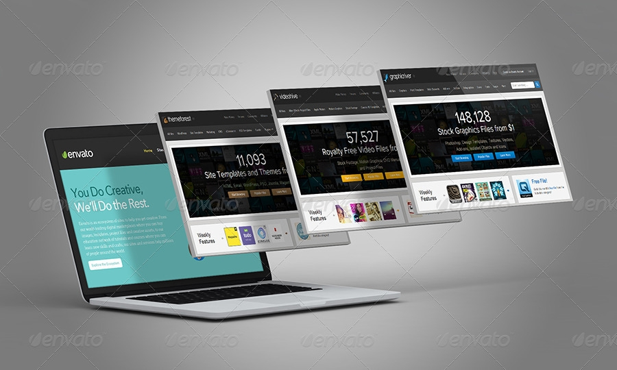 laptop and website mock ups themedia graphicriver