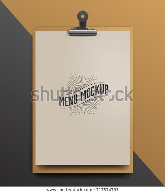 menu mockup realistic vector illustration stock vector royalty free