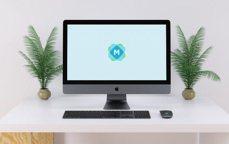 minimal imac pro desk mockup mockup templates