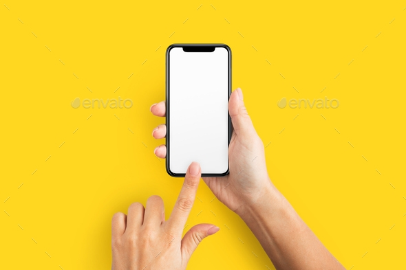 mockup of female hand holding cell phone with blank screen stock