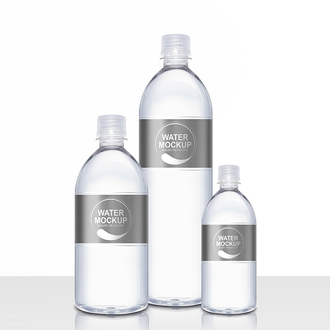 packreate mineral water plastic bottle psd mockup