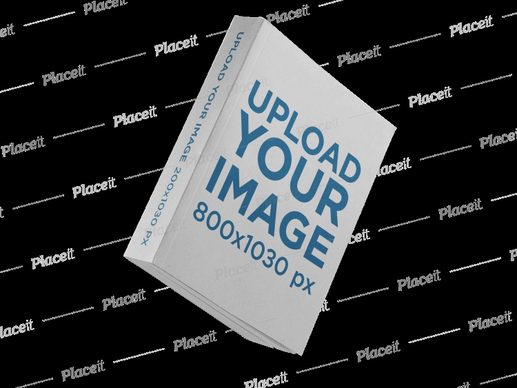 placeit angled floating big paperback book mockup over a