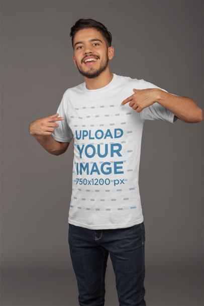 placeit mockup of a happy customer pointing at his esports t shirt