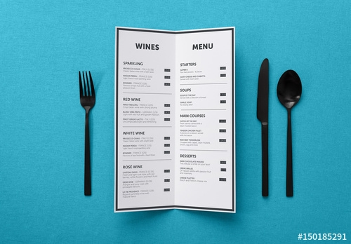 restaurant menu at place setting mockup 2 buy this stock template