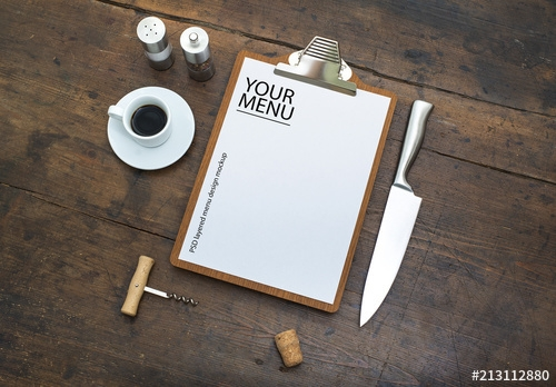 restaurant menu with clipboard on wooden table mockup buy this