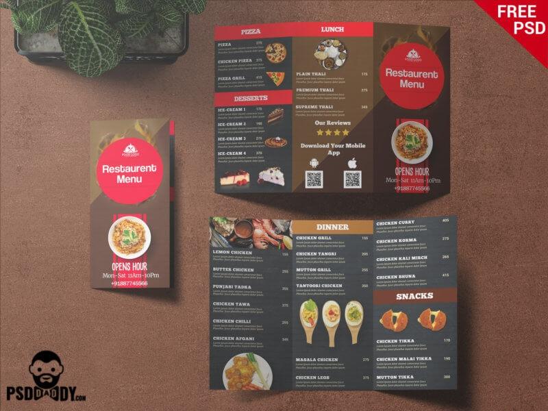 restaurant trifold menu card psddaddy