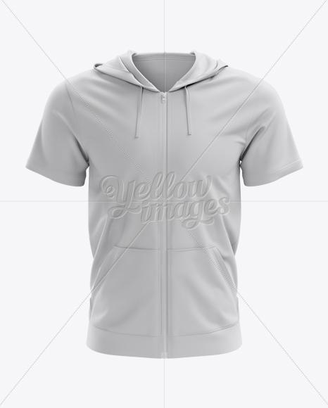short sleeve zip hoodie mockup front view in apparel mockups on