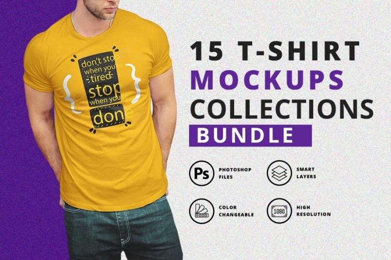 t shirt mockup bundle with model designertale