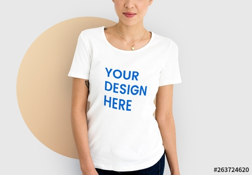 woman wearing a white t shirt mockup buy this stock template and