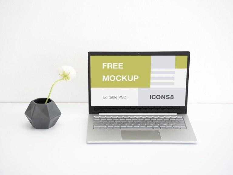 workspace laptop mockup margarita ivanchikova for icons8 on dribbble
