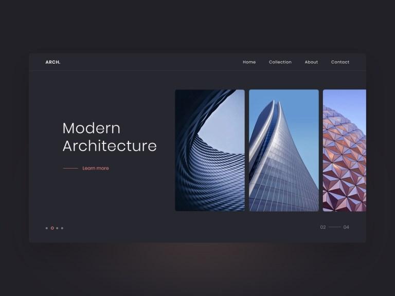 architecture portfolio landing page mockup
