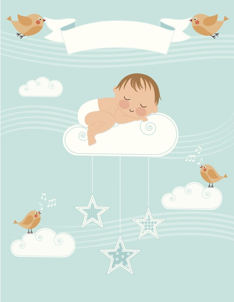 baby girl birth announcement clip art