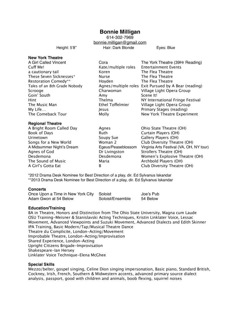 basic theatre resume templates at allbusinesstemplates