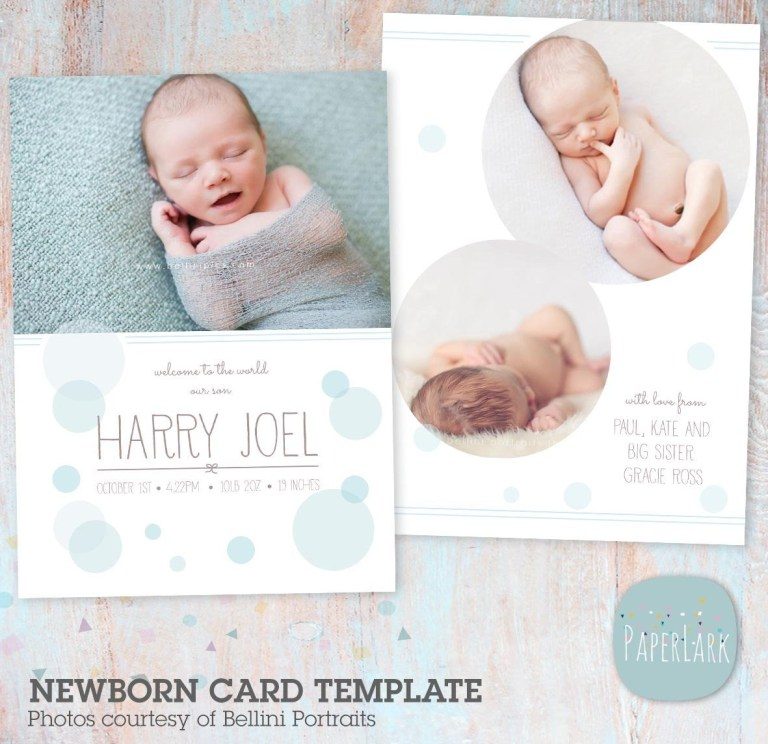 birth announcement template newborn card photoshop