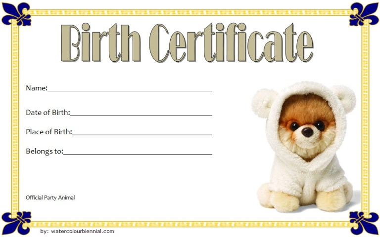 birth certificate template dog image